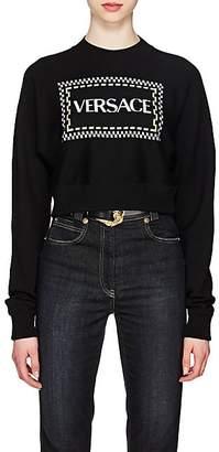 Versace Women's Logo Wool-Blend Crop Sweater - Black