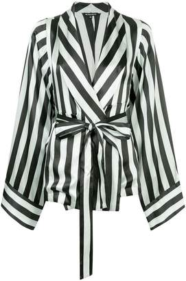 Ann Demeulemeester striped wrap-front jacket