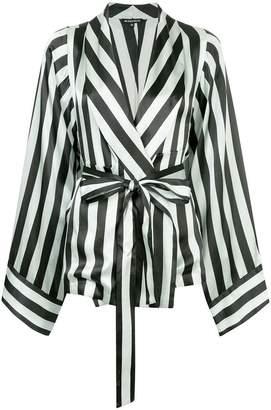 Ann Demeulemeester striped wrap-front jacket