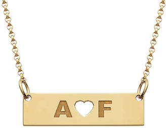 FINE JEWELRY Personalized 18K Yellow Gold over Silver Two Initials with Heart Bar Necklace
