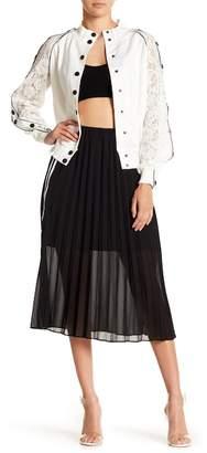 OnTwelfth Pleated Side Stripe Midi Skirt