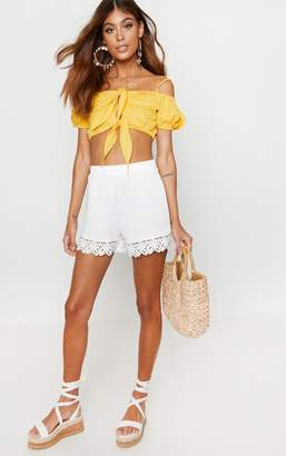 PrettyLittleThing White Crochet Trim Short