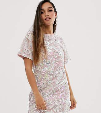 6b0a49e1c3f Flounce London Petite velvet iridescent sequin t shirt dress in pink