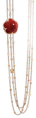 Pasquale Bruni 18K Rose Gold Bon Ton Diamond & Carnelian Multi Strand Necklace, 39.5""