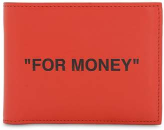 """Off-White Off White QUOTE BIFOLD """"FOR MONEY"""" LEATHER WALLET"""