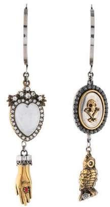 Alexander McQueen Quartz & Crystal Charm Drop Earrings