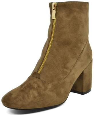 Hot Kiss Zippy-Taupe Suede Bootie