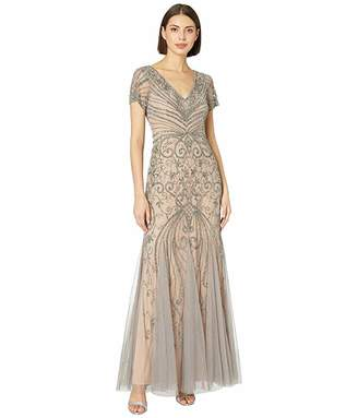 Adrianna Papell Cap Sleeve Beaded Evening Gown