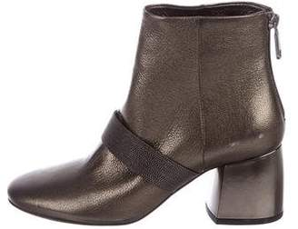 Brunello Cucinelli Metallic Leather Ankle Booties