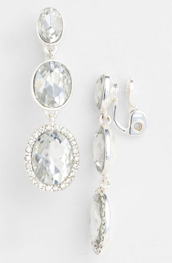 Anne Klein 'Bruma' Linear Clip Earrings