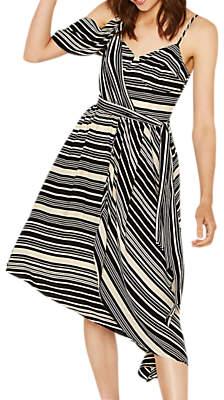 Oasis Asymmetric Midi Dress, Black/White