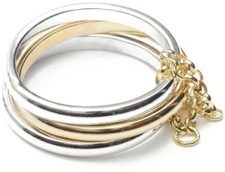 Skomer Studio All Day Sterling Silver & 9K Gold Trio Ring