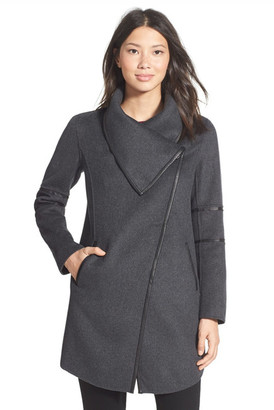 Mackage Genuine Leather Trim Draped Collar Wool Blend Coat $595 thestylecure.com
