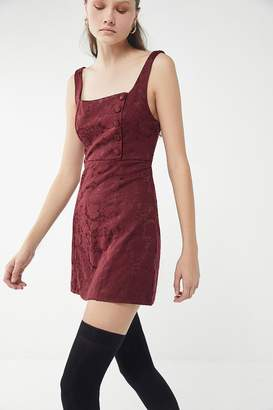 Urban Outfitters Hallie Embroidered Square-Neck Mini Dress