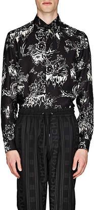 Givenchy Men's Dragon-Sky-Print Silk Shirt - Black