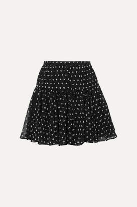 Saint Laurent Polka-dot Silk-georgette Mini Skirt - Black