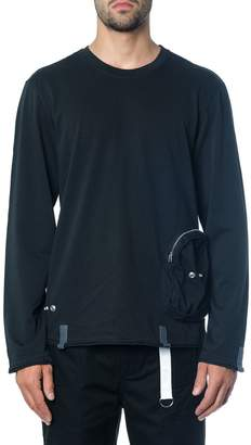Helmut Lang Ditressed Cotton T-shirt With Zip Pocket