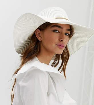 fd46eba973b4b Aldo Braussa white straw floppy wide brimed hat with gold chain detail