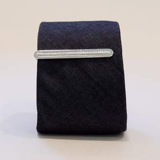 Blade + Blue Vintage Silver Tone 'Etched Rope' Tie Clip