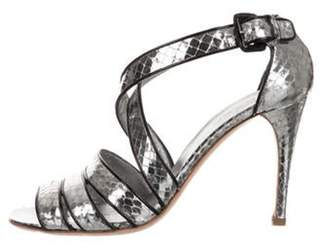 Prada Embossed Leather Strap Sandals Silver Embossed Leather Strap Sandals