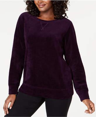 Karen Scott Petite Long-Sleeve Velour Sweatshirt