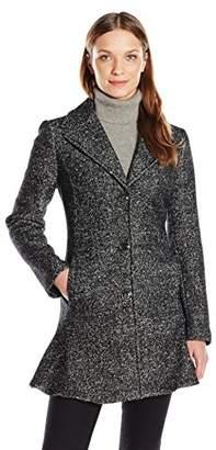 Kensie Women's Notch Collar Boiled Wool Tweed Skirted Coat $108.30 thestylecure.com
