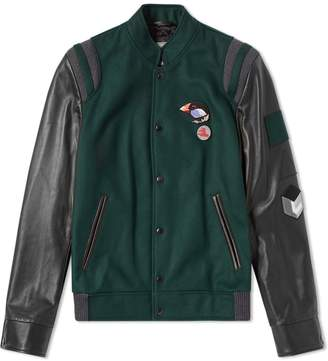 Lanvin Menton & Leather Varsity Jacket
