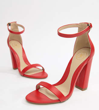 3e3f48fce50a Missguided exclusive block heeled barely there sandals in red