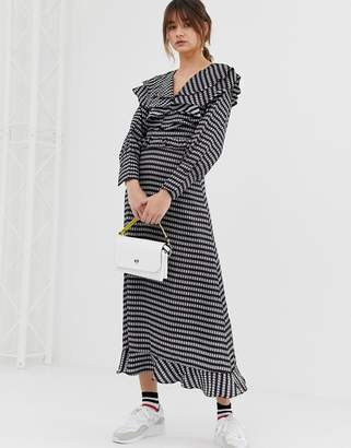 GHOSPELL midaxi dress with ruffle bib in gingham