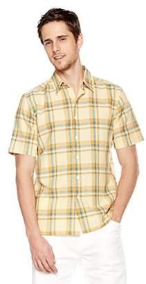 Isle Bay Linens Men's Short Sleeve Plaid Standard Woven Hawaiian Shirt L