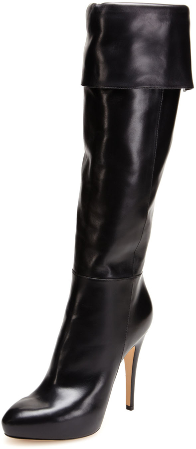 Casadei Leather Foldover Platform Boot