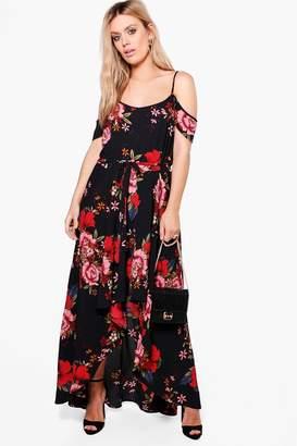 boohoo Plus Floral Open Shoulder Maxi Dress