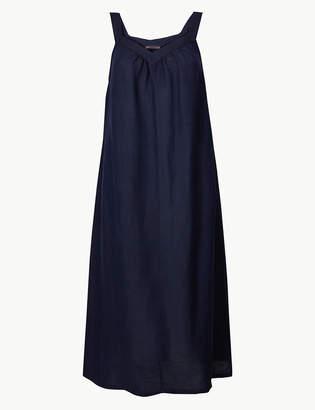 Marks and Spencer Linen Blend Slip Midi Dress