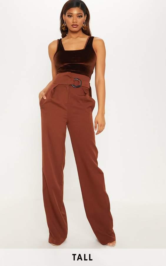 Tall Chocolate Brown Belt Ring Detail Wide Leg Trouser