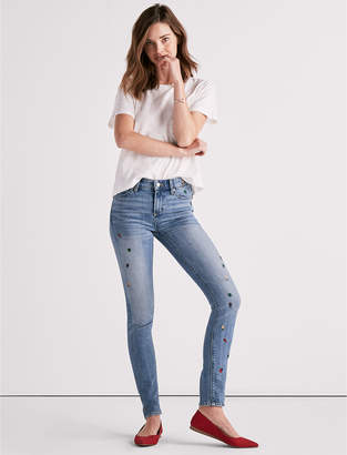 Lucky Brand Ava Mid Rise Skinny Jean With Ditsy Bug Embroidery