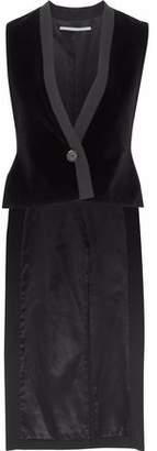 Rosetta Getty Asymmetric Twill-Trimmed Velvet Vest
