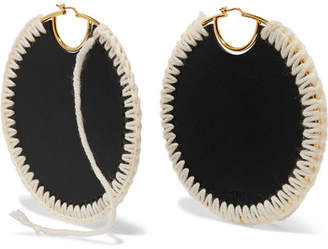 Loewe Gold-plated, Leather And Wool Earrings - Black