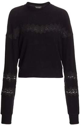 The Kooples Sweet Fleece Lace-Inset Sweater