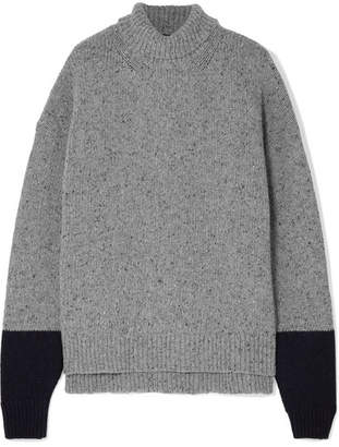 ALEXACHUNG Two-tone Wool-blend Turtleneck Sweater - Gray