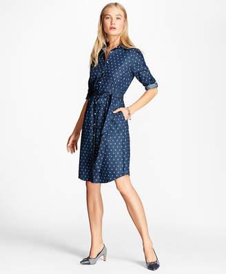 Brooks Brothers Anchor-Print Denim Shirt Dress