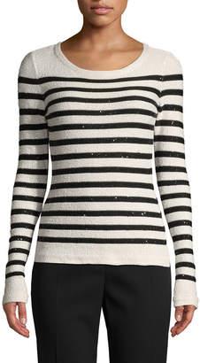 Oscar de la Renta Sequined Striped Sweater