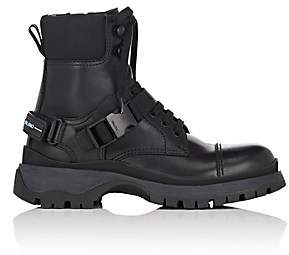 Prada Women's Buckled-Strap Leather Ankle Boots - Nero