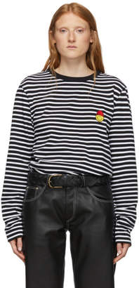 Ami Alexandre Mattiussi Black and White Smiley Edition Striped Long Sleeve T-Shirt