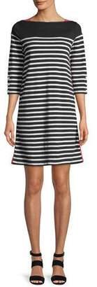 Joan Vass Colorblock Striped 3/4-Sleeve Dress