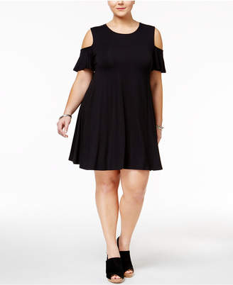 Style&Co. Style & Co Plus Size Flutter-Sleeve Cold-Shoulder Dress
