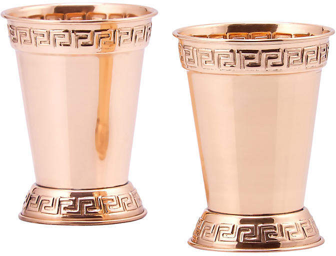 One Kings Lane Set of 2 Solid Copper Mint Julep Cups