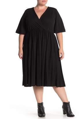 ELOQUII Wrap Top Pleated Skirt Dress (Plus Size)