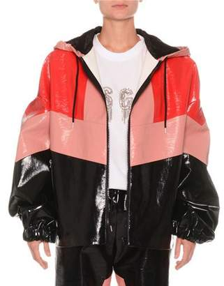 MSGM Faux-Leather Colorblock Zip-Front Jacket