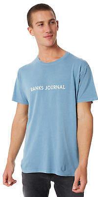 New Banks Men's Label Mens Tee Crew Neck Short Sleeve Cotton Soft Blue