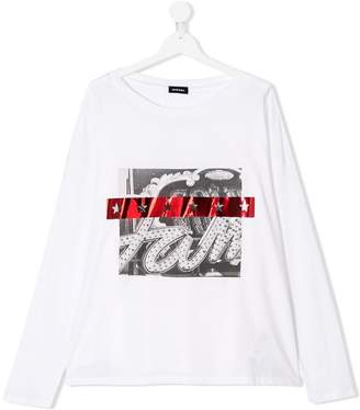 Diesel TEEN appliqué longsleeved T-shirt